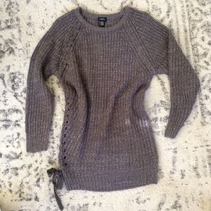 New. Grey knit long sweater
